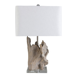 As Shown: Montauk Driftwood Table Lamp - ARY-001 Size: 16 x 11 x 26.25 H inches Material: Ceramic Composite, Crystal Base with White Linen Shade