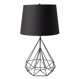 As Shown: Lineo Metal Table Lamp - FUL-100 Size: 17 dia x 29 H inches Material: Black Painted Metal  with Matching Linen Barrel Shade