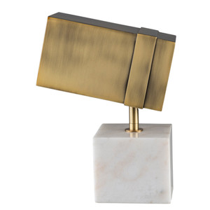 As Shown: Café Society Marble and Brass Spotlight Lamp  - LNN-001 Size: 9 x 4.25 x 10.75 H inches Material: Marble with Metal Shade