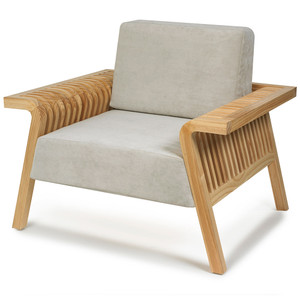 As Shown: Flori Lounge Chair Size: 38 x 32 x 33 H inches, Seat 17 H inches Material: Pine, Faux Suede Finish: Natural