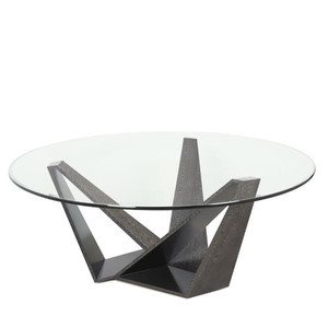 As Shown: V Dining Table Base Size: 48 diameter x 30 H inches Material: Steel Frame Veneered in Silkwood