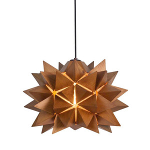 As Shown: Nova Suspension Lamp Size: 15 diameter x 11 H inches Material: Medium Brown Lauan Wood