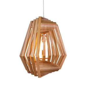 As Shown: Hexagonal Twist Suspension Lamp Size: 26.5 x 26.5 x 24 H inches Material: Lauan Wood