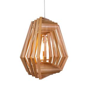 Hexagonal Twist Suspension Lamp 26.5 x 26.5 x 24 H inches Lauan Wood
