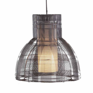 As Shown: Urban Pendant Lamp Size: 17.75 diameter x 18 H inches Material: Dark Grey Galvanized Iron Wire
