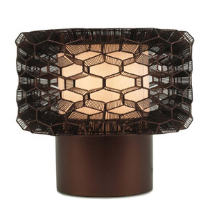 As Shown: Honeycomb Table Lamp Size: 14 x 14 x 12 H inches Material: Galvanized Iron Wire