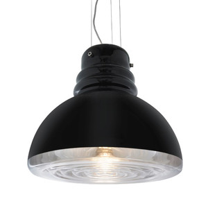 As Shown: Grande Torino Suspension Lamp Size: 15.5 diameter x 13.5 H inches Material: Black Mouth-Blown Murano Glass