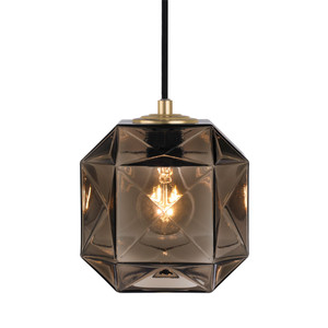 As Shown: Mimo Cube Pendant Lamp Size: 7 x 7 x 7 H inches Material: Bronze Hand-Blown Murano Glass