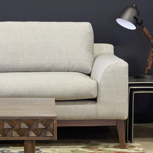 As Shown: Holland Sofa Size: 87 x 38 x 34.25 H inches Material: Neutral Polyester Fabric Finish: Walnut Legs with Natural Finish