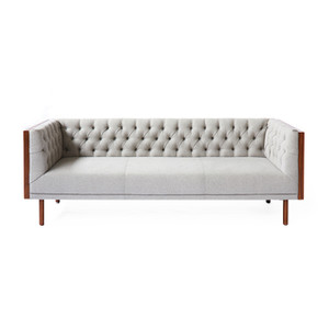 As Shown: Beyond Sofa Size: 81.5 x 30.5 x 27.25 H inches Material: Light Grey, Walnut Frame & Legs