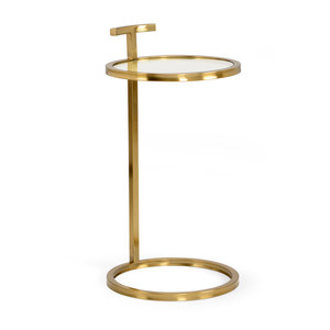 As Shown: Elise SideTable Size: 14 x 14 x 26 H inches Material: Brass and Glass