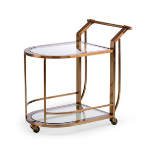 As Shown: Maxwell Bar Cart Size: 20.5 x 30 x 30 H inches Material: Steel With Bronze Finish, Glass
