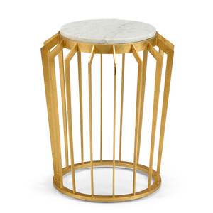 As Shown: Mason Side Table Size: 19.5 x 19.5 x 22.5 H inches Material: Iron with Metallic Finish, White Marble
