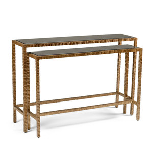 As Shown: Bennett Nesting Console Table Size: 48 x 12.5 x 32.5 H inches Material: Aluminum With Old Gold Finish, Black Glass