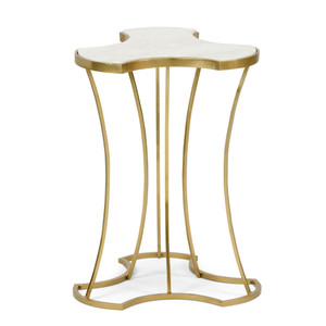 As Shown: Triptych Side Table Size: 15 x 15 x 20 H inches Material: Iron with Antique Gold Finish, White Marble