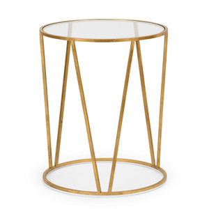 As Shown: Emery Side Table Size: 20 x 20 x 25 H inches Material: Iron With Antique Gold Finish, Clear Glass
