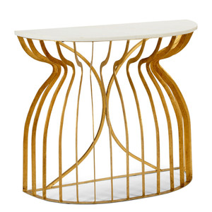 As Shown: Martha Console Size: 39 x 15 x 33 H inches Material: Iron With Antique Gold Finish, White Marble