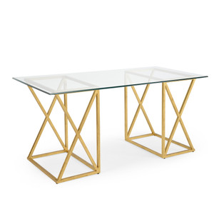 As Shown: Gilt Desk Gold Size: 65 x 30 x 30.5 H inches Material: Iron With Antique Gold Finish, Clear Glass