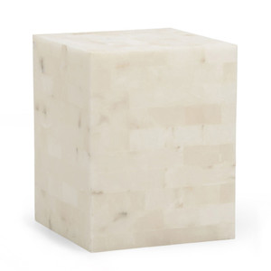 As Shown: Square Alabaster Side Table Size: 15.5 x 15.5 x 20 H inches Material:  Alabaster
