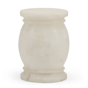 As Shown: Warwick Alabaster Side Table Size: 11 x 11 x 16 H inches Material: Alabaster