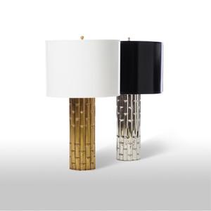 As Shown: Bamboo Palace Table Lamp Size:  12 diameter x 21 H inches Material: Plated Aluminum Finish: Antique Brass, Shiny Nickel Shade: Painted Parchment Shade Color: White, Black