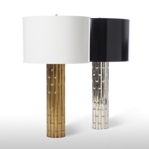As Shown: Bamboo Palace Table Lamp Size:  15 diameter x 27 H inches Material: Plated Aluminum Finish: Antique Brass, Shiny Nickel Shade: Painted Parchment Shade Color: White, Black  Description: We love the unexpected contrast of gold or silver metal, the natural lines of bamboo and the glossy painted parchment drum shade (in black or white) on this elegant lamp. Feel free to touch. You know you want to.