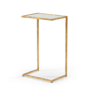 As Shown: Matteson Side Table Size: 16 x 11 x 26 H inches Material: Iron With Metallic Finish, Clear Mirrored Glass
