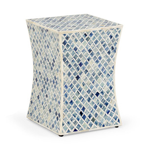 As Shown: Bristol Side Table Size: 13 x 13 x 18 H inches Material: Bone Inlay