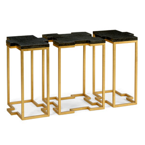 As Shown: Blake Trio Tables Size: 44 x 18 x 26 H inches Material: Wrought Iron with Gold Leaf, Black Marble