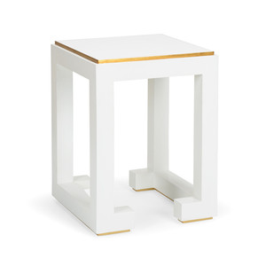 As Shown: Chow Side Table Size: 18 x 18 x 24.5 H inches Material: Wooden Frame, Painted Finish
