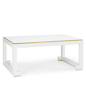 As Shown: Chow Cocktail Table Size: 52 x 32 x 20.5 H inches Material: Wooden Frame, Painted Finish