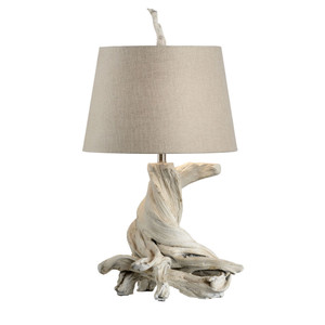 As Shown: Olmsted Table Lamp Size: 17 x 15 x 33 H inches Material: Cast Ceramic, Natural Linen Shade