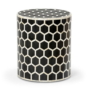 As Shown: Versova Bone Inlay Side Table Size: 16 x 16 x 18 H inches Material: Bone Inlay