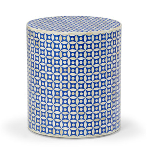 As Shown: Amrita Bone Inlay Side Table Size: 16 x 16 x 18 H inches Material: Bone Inlay