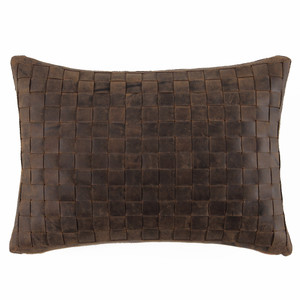 As Shown: Easy Rider Pillow Size: 12 x 20 inches Material: Leather Color: Distressed Brown
