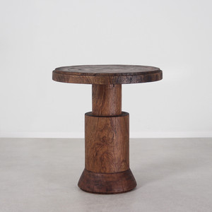 As Shown: Cádiz Side Table  Size: 22 dia x 24 H inches Finish: Light Walnut Topcoat: Hard Oil