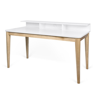 As Shown: Xira Desk Size: 47 x 24 x 35 H inches Material: Oak , Lacquer Wood