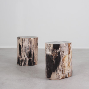 As Shown: Petrified Wood Log Table Dimensions: 14 - 16 diameter x 17 H inches, each is unique expect variation Color: Black & Neutral Mix