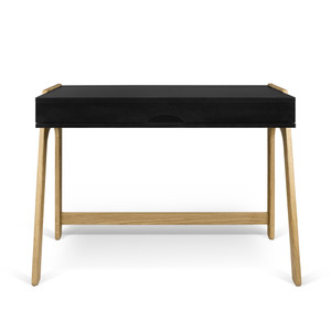 As Shown: Aura Desk Size: 37 x 21 x 30 H inches Material: Lacquered Wood, Solid Oak Legs