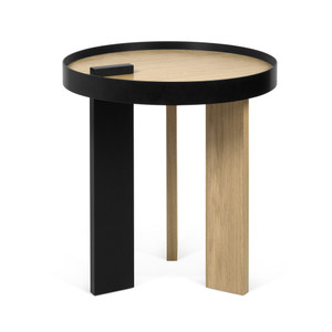 As Shown: Bruno Side Table Size: 20 Diameter x 18 H inches Material: Oak Veneer, Lacquered Wood
