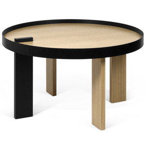 As Shown: Bruno Cocktail Table Size: 32 Diameter x 17 H inches Material: Oak Veneer, Lacquered Woo