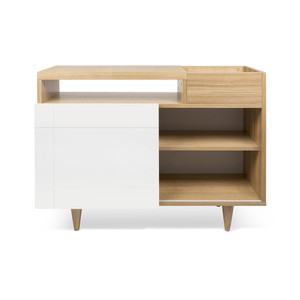As Shown: Cruz Sideboard Size: 43 x 17 x 32 H inches Material: Oak Veneer, Lacquered Wood