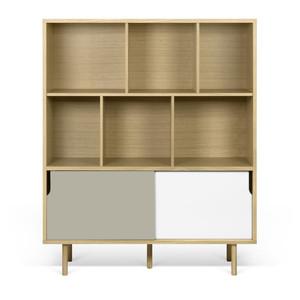 Dann Cupboard 53 x 18 x 60 H inches Oak Veneer, Lacquered Wood
