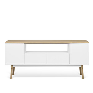 As Shown: Lyon TV Table Size: 73 x 16 x 24 H inches Material: Oak Veneer, Lacquered Wood