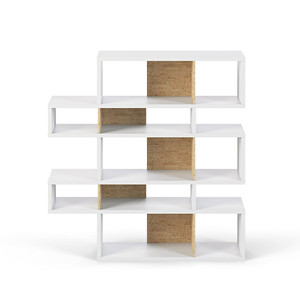 As Shown: London Bookcase Size: 61 x 13 x 63 H inches Material: Cork, Lacquered Wood