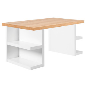 "As Shown: Multi 63"" Storage Desk Size: 63 x 35 x 30 H inches Material: Oak Veneer, Lacquered Wood"