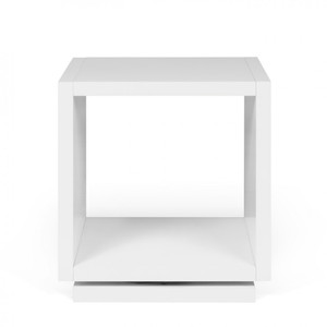 As Shown: Shell Mini Bedside Table Size: 16 x 13 x 17 H inches Material: Lacquered Wood
