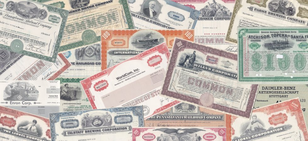 Old stock certificates from your favorite companies