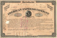 American Express Company Stock Certificate 1898 - James Fargo signed