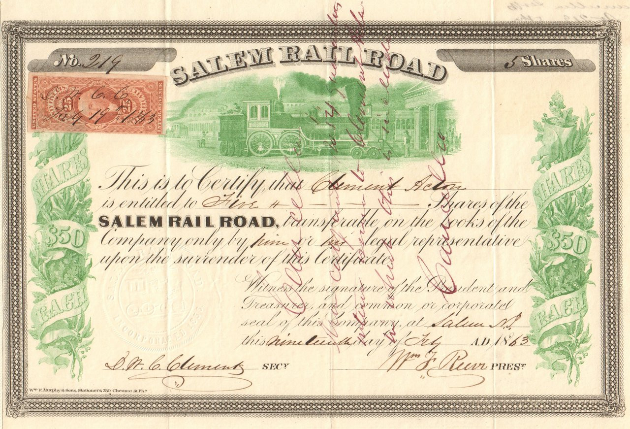 Salem Railroad Stock Certificate 1863 New Jersey